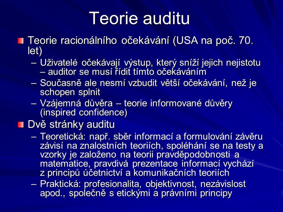 Teorie auditu Teorie racionálního očekávání (USA na poč.