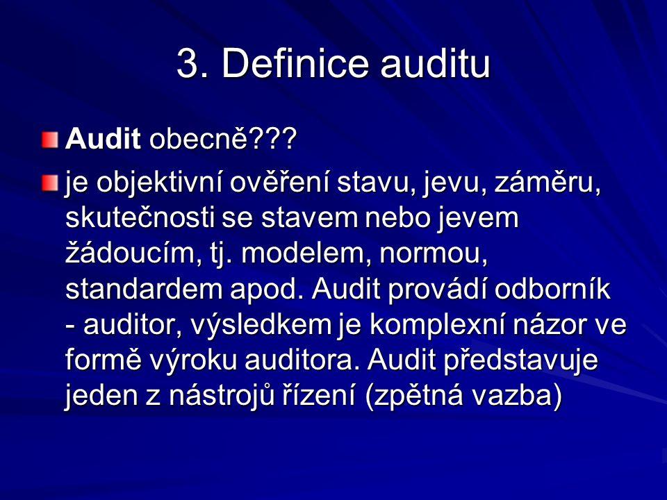 3. Definice auditu Audit obecně .