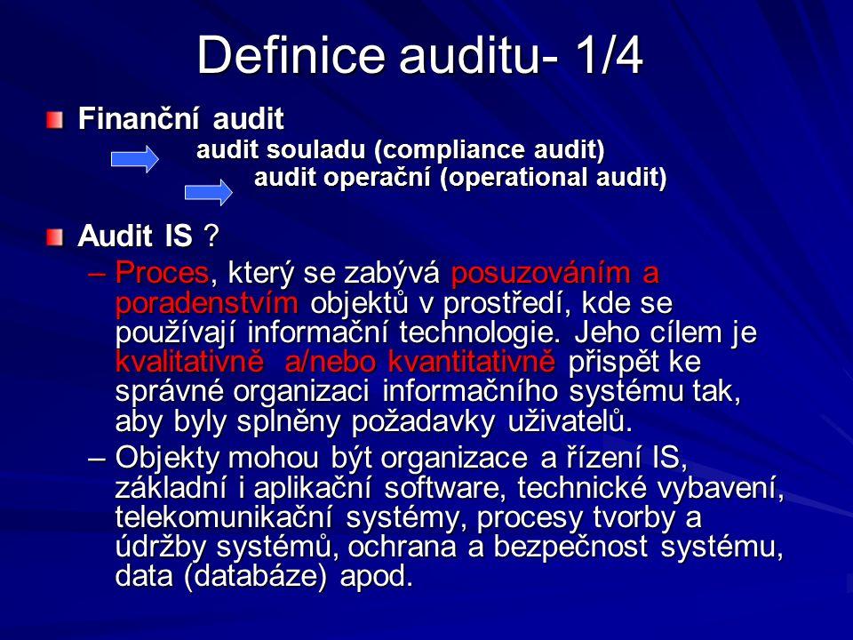 Definice auditu- 1/4 Finanční audit audit souladu (compliance audit) audit souladu (compliance audit) audit operační (operational audit) audit operační (operational audit) Audit IS .