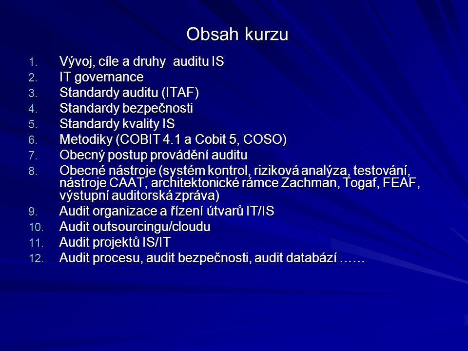 Obsah kurzu Obsah kurzu 1. Vývoj, cíle a druhy auditu IS 2.