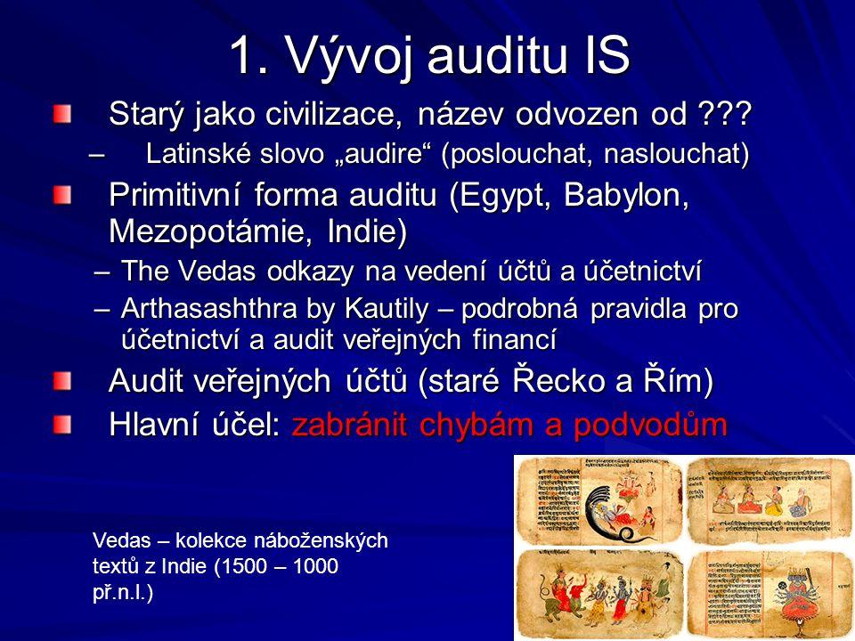 1. Vývoj auditu IS Starý jako civilizace, název odvozen od .