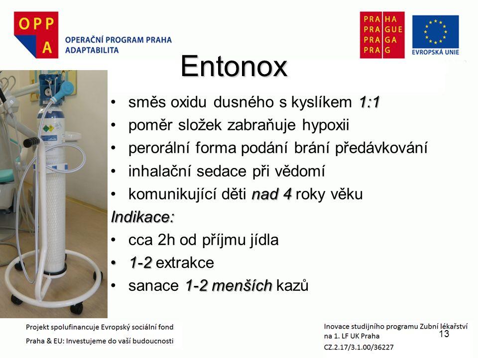 Entonox Entonox 1:1směs oxidu dusného s kyslíkem 1:1 poměr složek zabraňuje hypoxii perorální forma podání brání předávkování inhalační sedace při vědomí nad 4komunikující děti nad 4 roky věkuIndikace: cca 2h od příjmu jídla 1-21-2 extrakce 1-2 menšíchsanace 1-2 menších kazů 13