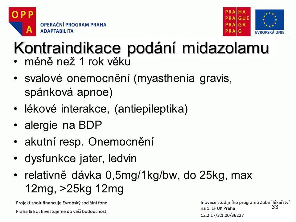 Kontraindikace podání midazolamu méně než 1 rok věku svalové onemocnění (myasthenia gravis, spánková apnoe) lékové interakce, (antiepileptika) alergie na BDP akutní resp.