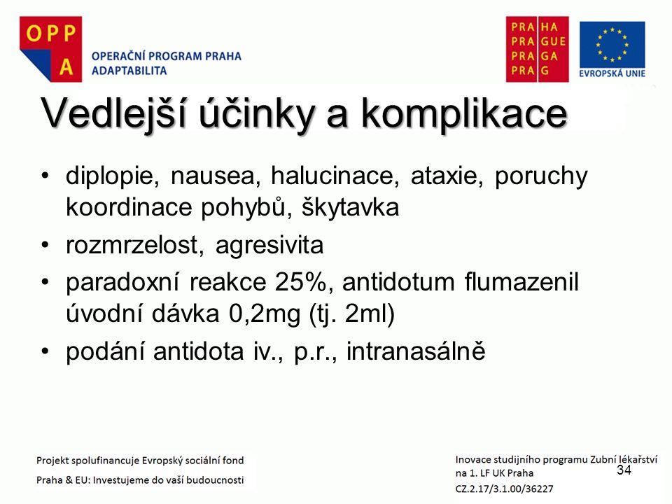 Vedlejší účinky a komplikace diplopie, nausea, halucinace, ataxie, poruchy koordinace pohybů, škytavka rozmrzelost, agresivita paradoxní reakce 25%, antidotum flumazenil úvodní dávka 0,2mg (tj.