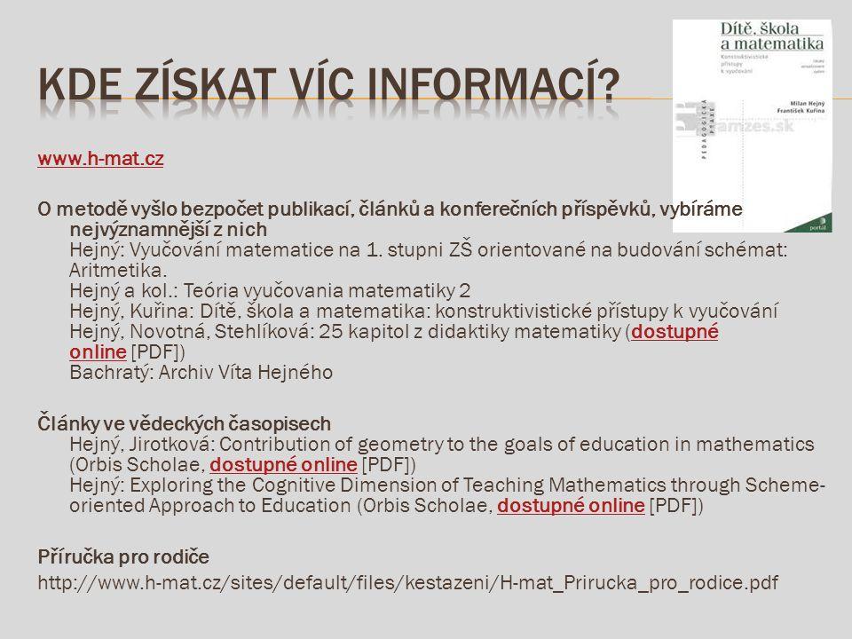 www.h-mat.cz O metodě vyšlo bezpočet publikací, článků a konferečních příspěvků, vybíráme nejvýznamnější z nich Hejný: Vyučování matematice na 1.