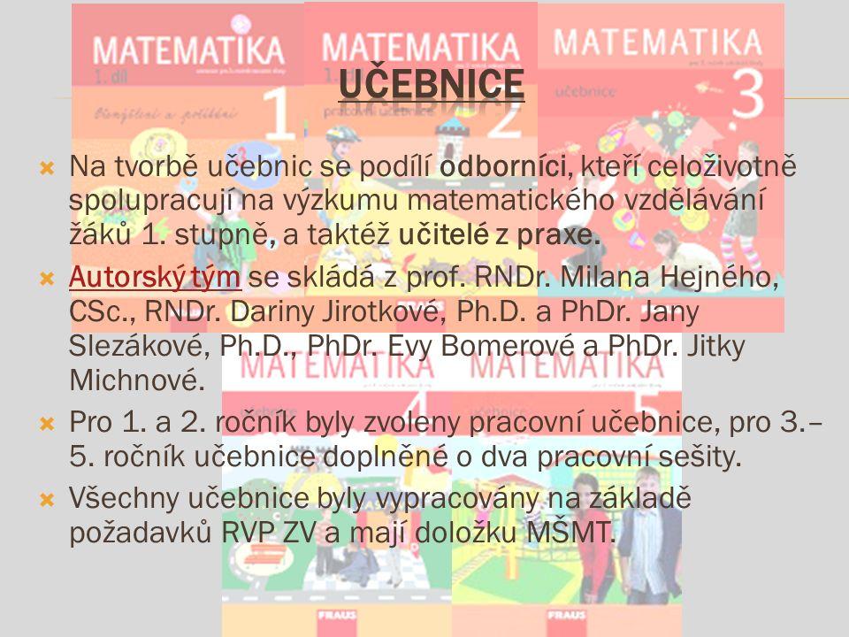  Na tvorbě učebnic se podílí odborníci, kteří celoživotně spolupracují na výzkumu matematického vzdělávání žáků 1.