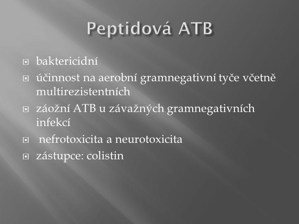  baktericidní  účinnost na aerobní gramnegativní tyče včetně multirezistentních  záožní ATB u závažných gramnegativních infekcí  nefrotoxicita a neurotoxicita  zástupce: colistin