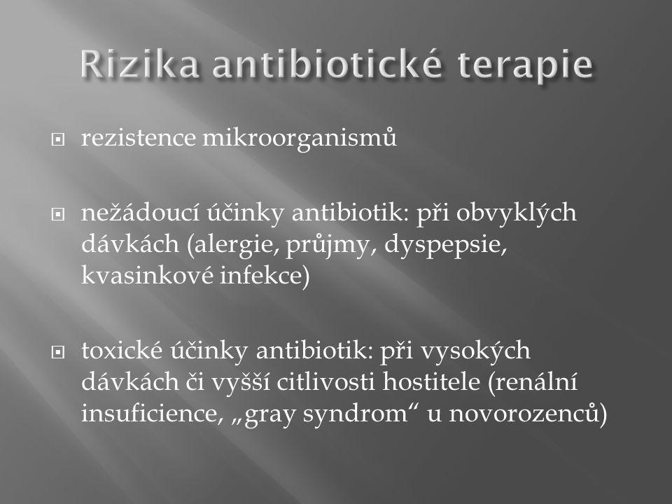 """ rezistence mikroorganismů  nežádoucí účinky antibiotik: při obvyklých dávkách (alergie, průjmy, dyspepsie, kvasinkové infekce)  toxické účinky antibiotik: při vysokých dávkách či vyšší citlivosti hostitele (renální insuficience, """"gray syndrom u novorozenců)"""