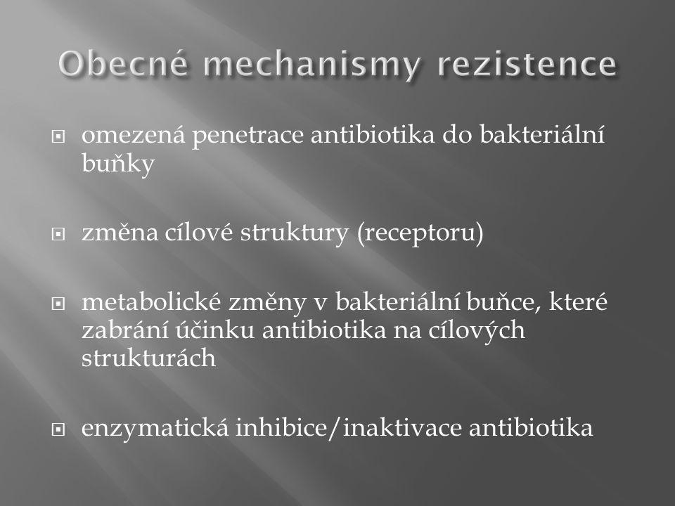  omezená penetrace antibiotika do bakteriální buňky  změna cílové struktury (receptoru)  metabolické změny v bakteriální buňce, které zabrání účinku antibiotika na cílových strukturách  enzymatická inhibice/inaktivace antibiotika