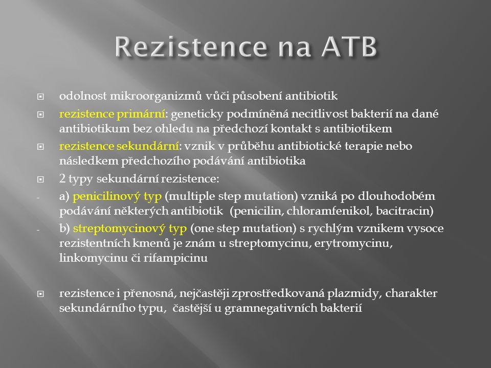  odolnost mikroorganizmů vůči působení antibiotik  rezistence primární: geneticky podmíněná necitlivost bakterií na dané antibiotikum bez ohledu na předchozí kontakt s antibiotikem  rezistence sekundární: vznik v průběhu antibiotické terapie nebo následkem předchozího podávání antibiotika  2 typy sekundární rezistence: - a) penicilinový typ (multiple step mutation) vzniká po dlouhodobém podávání některých antibiotik (penicilin, chloramfenikol, bacitracin) - b) streptomycinový typ (one step mutation) s rychlým vznikem vysoce rezistentních kmenů je znám u streptomycinu, erytromycinu, linkomycinu či rifampicinu  rezistence i přenosná, nejčastěji zprostředkovaná plazmidy, charakter sekundárního typu, častější u gramnegativních bakterií