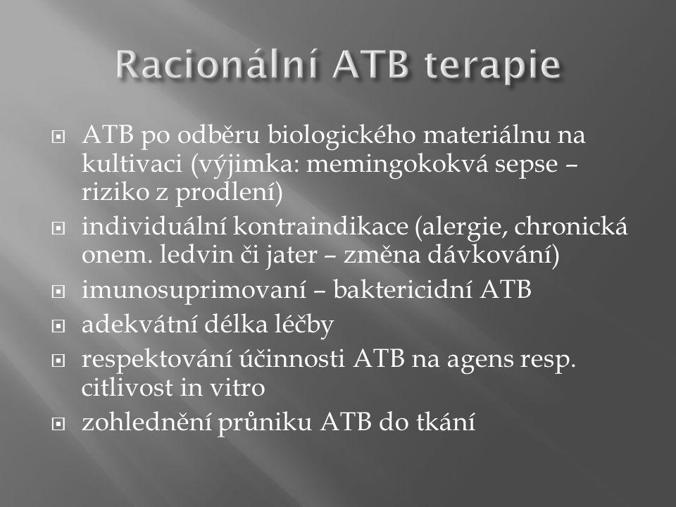  ATB po odběru biologického materiálnu na kultivaci (výjimka: memingokokvá sepse – riziko z prodlení)  individuální kontraindikace (alergie, chronic