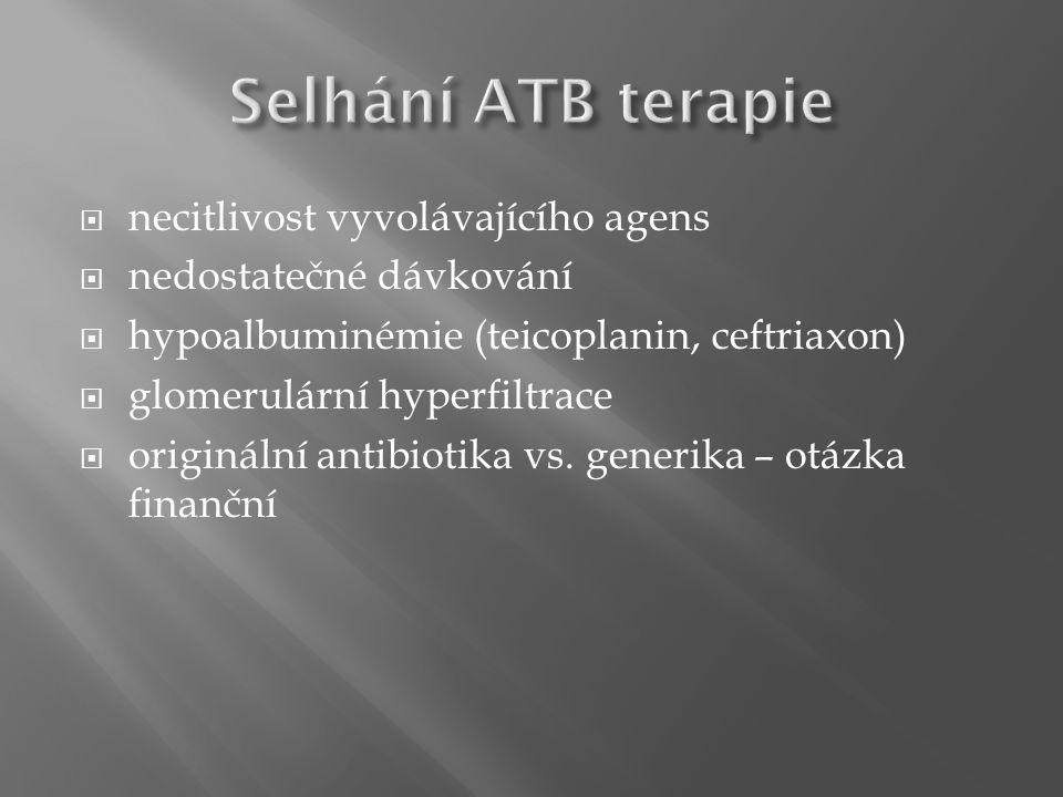  necitlivost vyvolávajícího agens  nedostatečné dávkování  hypoalbuminémie (teicoplanin, ceftriaxon)  glomerulární hyperfiltrace  originální antibiotika vs.