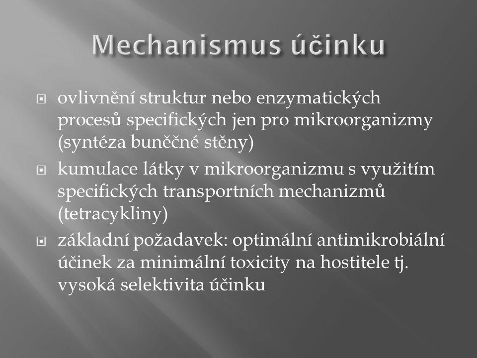  inhibice syntézy buněčné stěny (peniciliny, cefalosporiny, monobaktamy, karbapenemy, vankomycin, bacitracin)  změna funkce cytoplazmatické membrány (amfotericin B, azoly, polyeny, polymyxiny)  inhibice syntézy bílkovin (aminoglykozidy, chloramfenikol, makrolidy, tetracykliny, linkomycin)  inhibice syntézy nukleových kyselin (sulfonamidy, trimetoprim, chinolony, rifampicin, pyrimetamin)