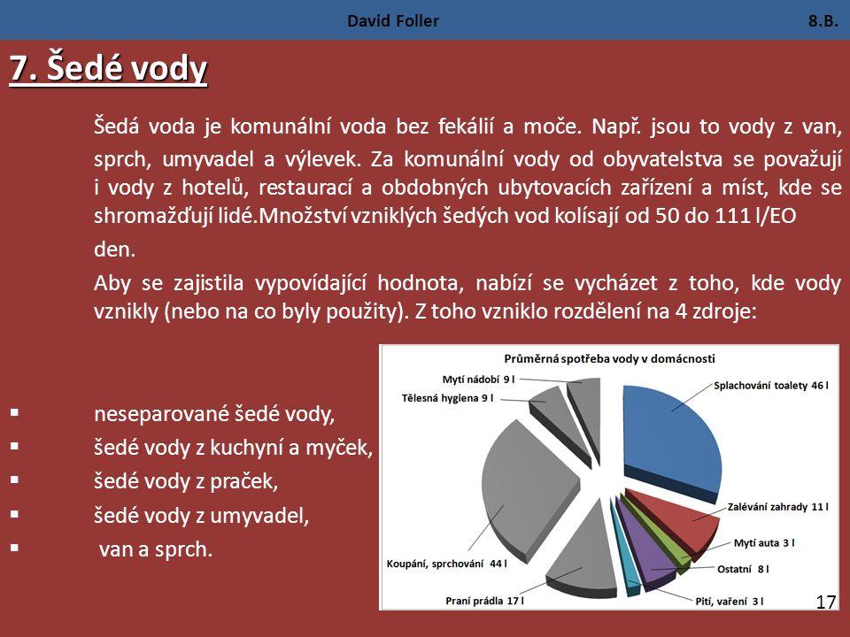 David Foller 8.B. 7. Šedé vody Šedá voda je komunální voda bez fekálií a moče.