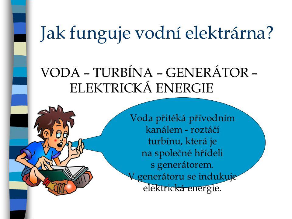 Rozdělení vodních elektráren: Malé vodní elektrárny Přečerpávací vodní elektrárna Vodní elektrárny Přílivové elektrárny