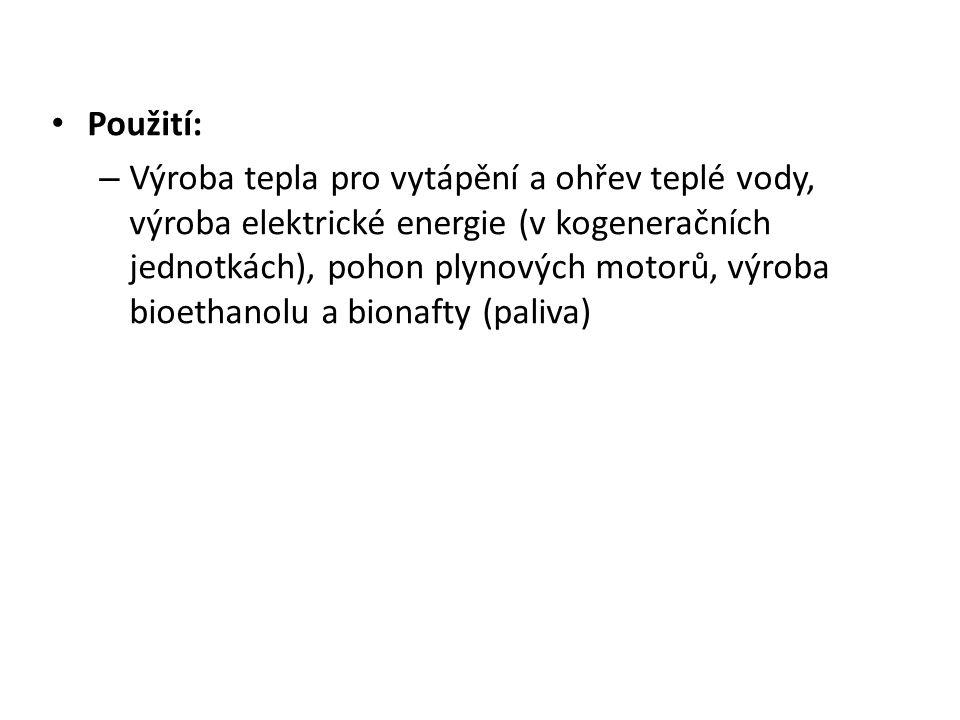 Použití: – Výroba tepla pro vytápění a ohřev teplé vody, výroba elektrické energie (v kogeneračních jednotkách), pohon plynových motorů, výroba bioethanolu a bionafty (paliva)