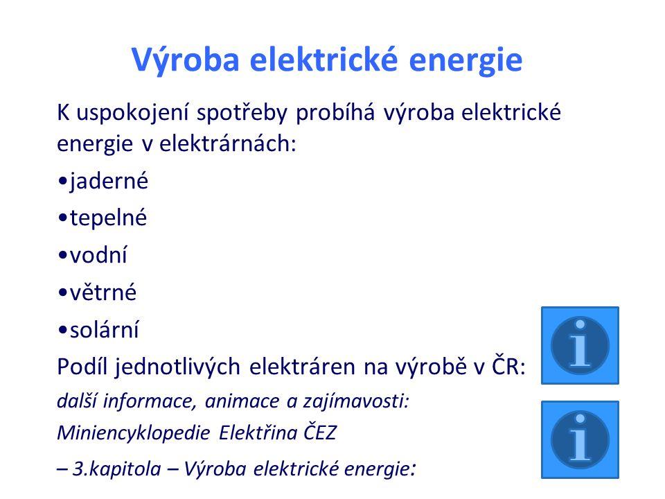 Výroba elektrické energie K uspokojení spotřeby probíhá výroba elektrické energie v elektrárnách: jaderné tepelné vodní větrné solární Podíl jednotliv