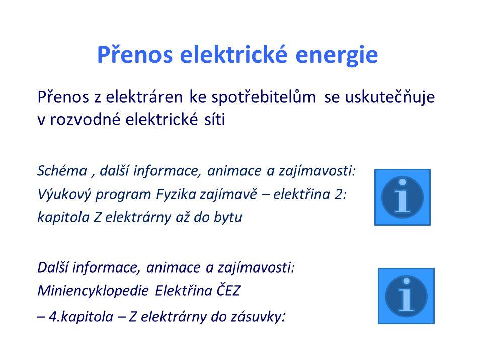 Přenos elektrické energie Přenos z elektráren ke spotřebitelům se uskutečňuje v rozvodné elektrické síti Schéma, další informace, animace a zajímavost