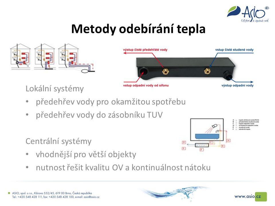 Metody odebírání tepla Lokální systémy předehřev vody pro okamžitou spotřebu předehřev vody do zásobníku TUV Centrální systémy vhodnější pro větší obj