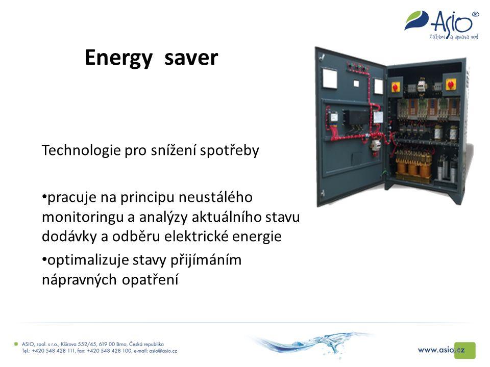 Energy saver Technologie pro snížení spotřeby pracuje na principu neustálého monitoringu a analýzy aktuálního stavu dodávky a odběru elektrické energi