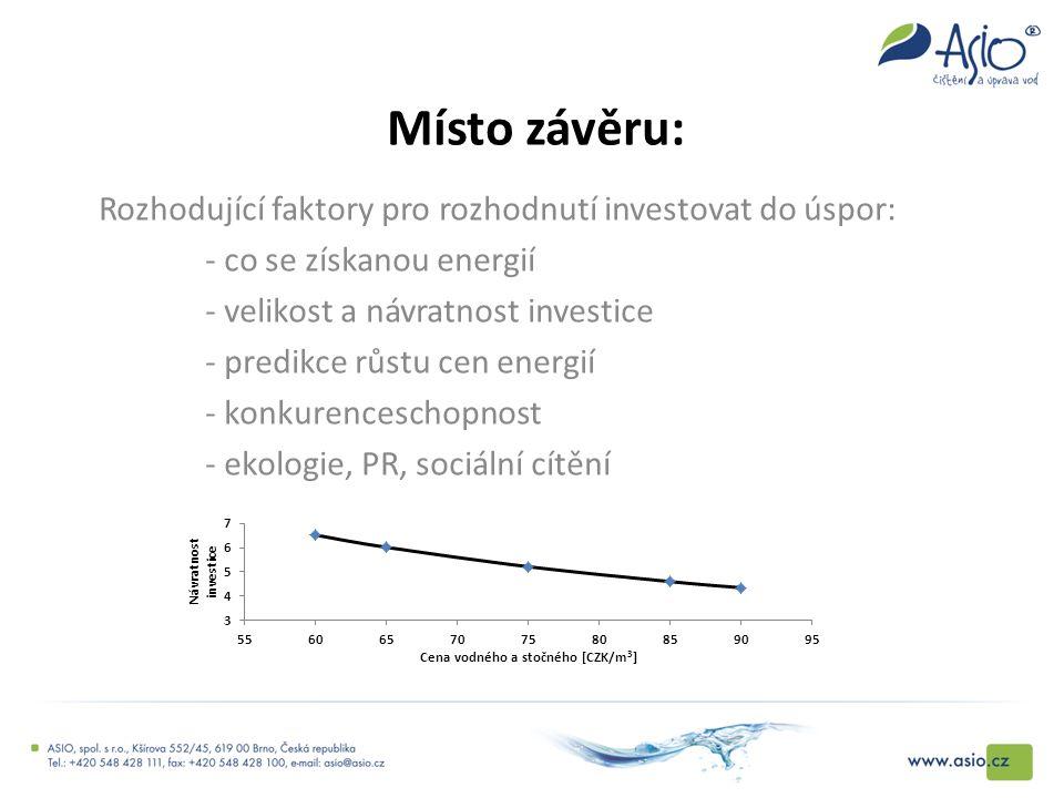 Místo závěru: Rozhodující faktory pro rozhodnutí investovat do úspor: - co se získanou energií - velikost a návratnost investice - predikce růstu cen