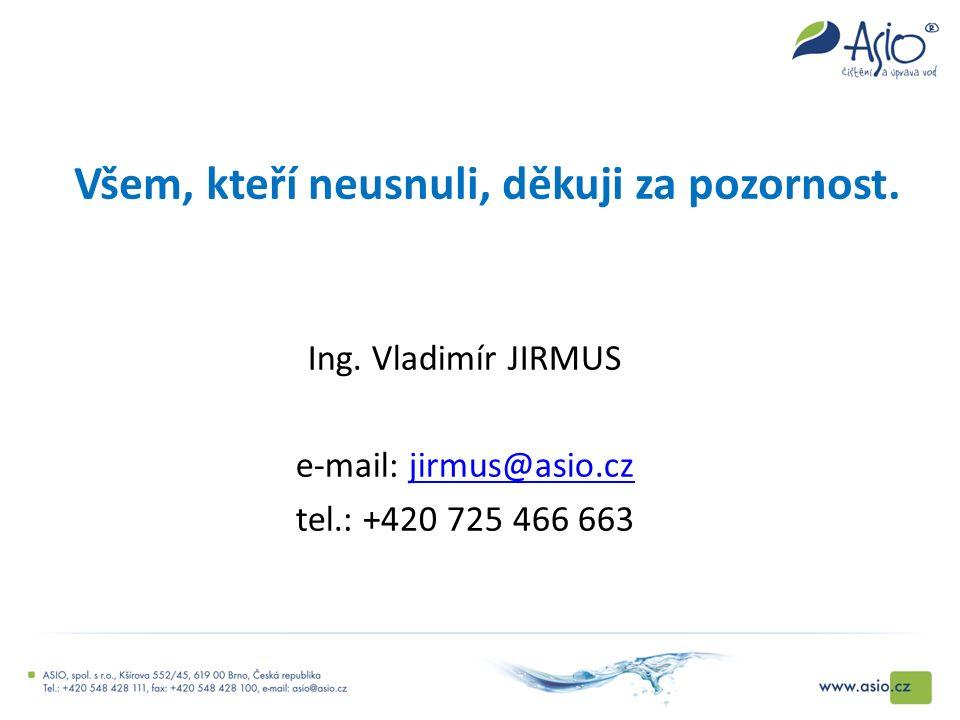 Všem, kteří neusnuli, děkuji za pozornost. Ing. Vladimír JIRMUS e-mail: jirmus@asio.czjirmus@asio.cz tel.: +420 725 466 663