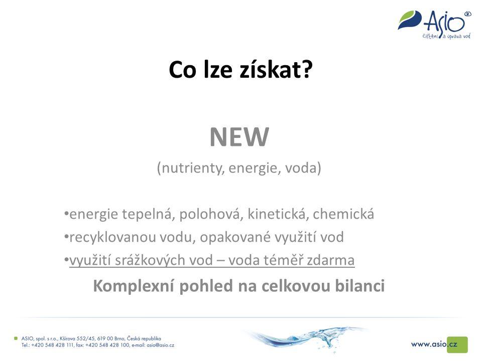 Co lze získat? NEW (nutrienty, energie, voda) energie tepelná, polohová, kinetická, chemická recyklovanou vodu, opakované využití vod využití srážkový