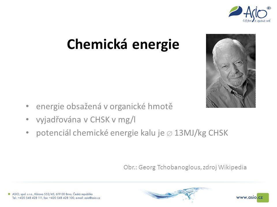Chemická energie energie obsažená v organické hmotě vyjadřována v CHSK v mg/l potenciál chemické energie kalu je  13MJ/kg CHSK Obr.: Georg Tchobanogl