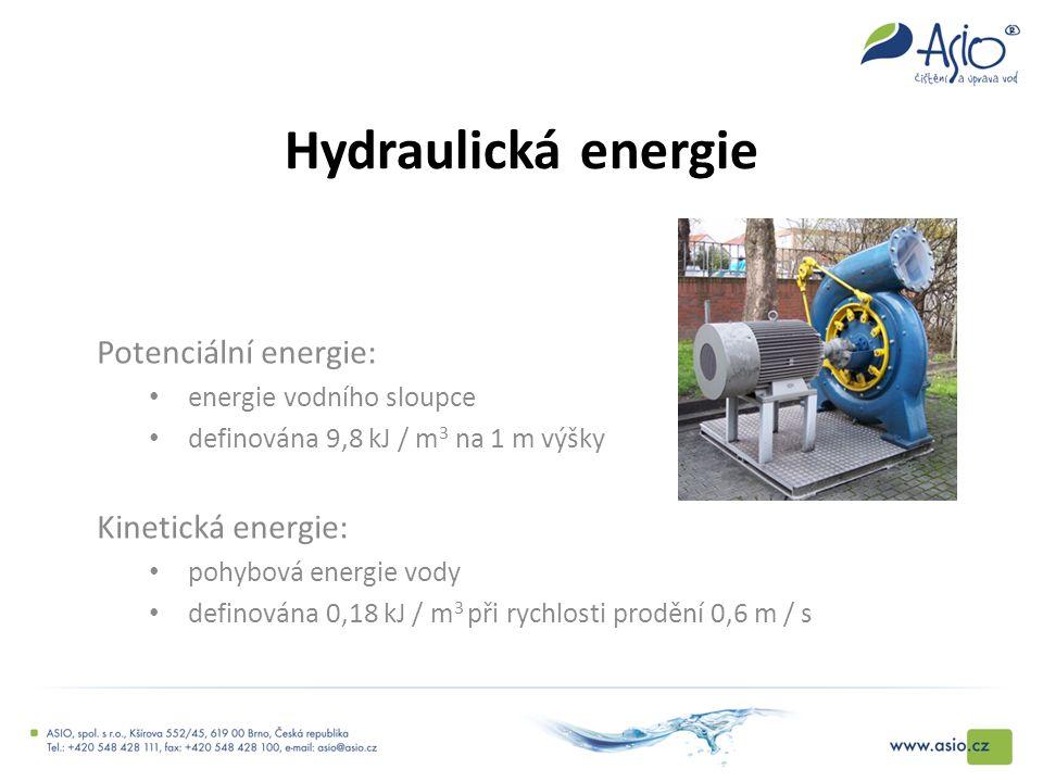 Hydraulická energie Potenciální energie: energie vodního sloupce definována 9,8 kJ / m 3 na 1 m výšky Kinetická energie: pohybová energie vody definov