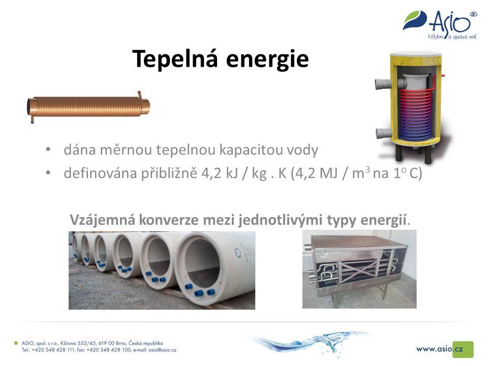 Tepelná energie dána měrnou tepelnou kapacitou vody definována přibližně 4,2 kJ / kg. K (4,2 MJ / m 3 na 1 o C) Vzájemná konverze mezi jednotlivými ty