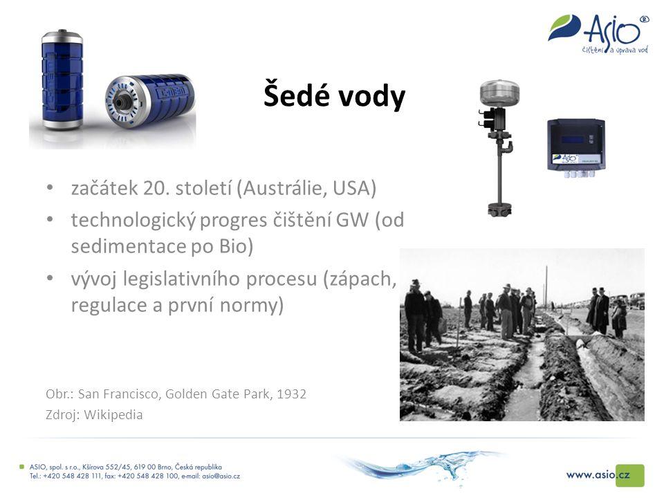 Šedé vody začátek 20. století (Austrálie, USA) technologický progres čištění GW (od sedimentace po Bio) vývoj legislativního procesu (zápach, regulace