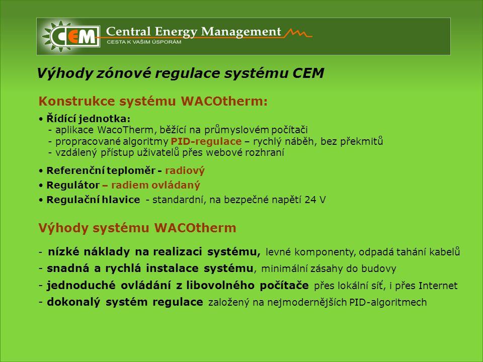 Výhody zónové regulace systému CEM Výhody systému WACOtherm - nízké náklady na realizaci systému, levné komponenty, odpadá tahání kabelů - snadná a rychlá instalace systému, minimální zásahy do budovy - jednoduché ovládání z libovolného počítače přes lokální síť, i přes Internet - dokonalý systém regulace založený na nejmodernějších PID-algoritmech Konstrukce systému WACOtherm: Řídící jednotka: - aplikace WacoTherm, běžící na průmyslovém počítači - propracované algoritmy PID-regulace – rychlý náběh, bez překmitů - vzdálený přístup uživatelů přes webové rozhraní Referenční teploměr - radiový Regulátor – radiem ovládaný Regulační hlavice - standardní, na bezpečné napětí 24 V