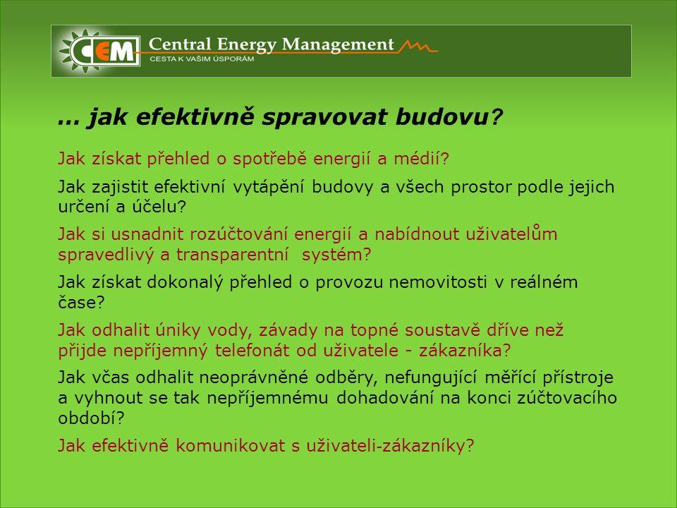 … jak efektivně spravovat budovu . Jak získat přehled o spotřebě energií a médií .