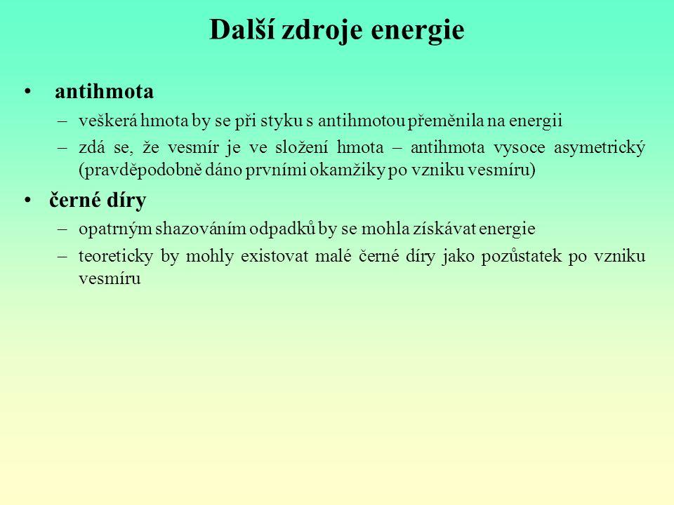 Další zdroje energie antihmota –veškerá hmota by se při styku s antihmotou přeměnila na energii –zdá se, že vesmír je ve složení hmota – antihmota vys
