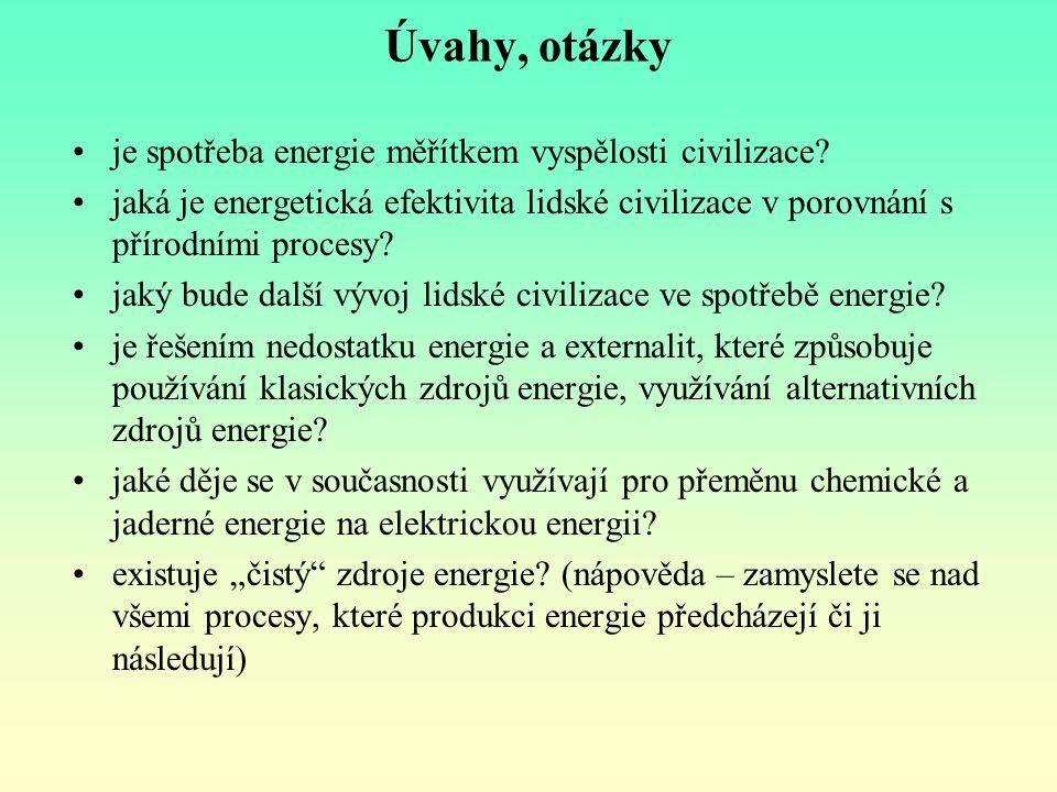 Úvahy, otázky je spotřeba energie měřítkem vyspělosti civilizace? jaká je energetická efektivita lidské civilizace v porovnání s přírodními procesy? j
