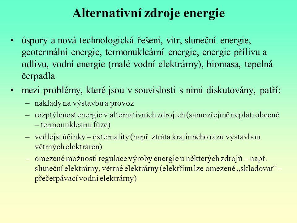 Alternativní zdroje energie úspory a nová technologická řešení, vítr, sluneční energie, geotermální energie, termonukleární energie, energie přílivu a
