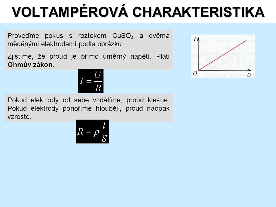 VOLTAMPÉROVÁ CHARAKTERISTIKA Proveďme pokus s roztokem CuSO 4 a dvěma měděnými elektrodami podle obrázku.