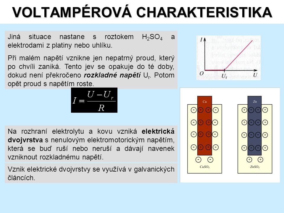 VOLTAMPÉROVÁ CHARAKTERISTIKA Jiná situace nastane s roztokem H 2 SO 4 a elektrodami z platiny nebo uhlíku.