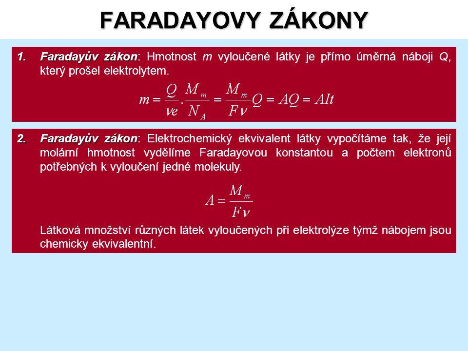 FARADAYOVY ZÁKONY 1.Faradayův zákon 1.Faradayův zákon: Hmotnost m vyloučené látky je přímo úměrná náboji Q, který prošel elektrolytem.