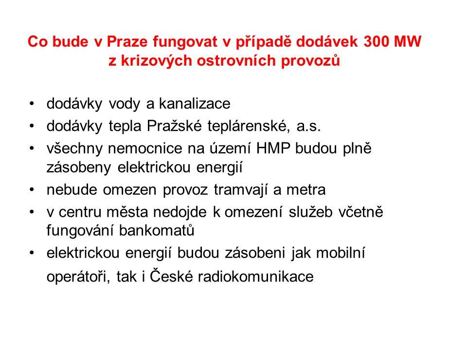 Co bude v Praze fungovat v případě dodávek 300 MW z krizových ostrovních provozů dodávky vody a kanalizace dodávky tepla Pražské teplárenské, a.s.