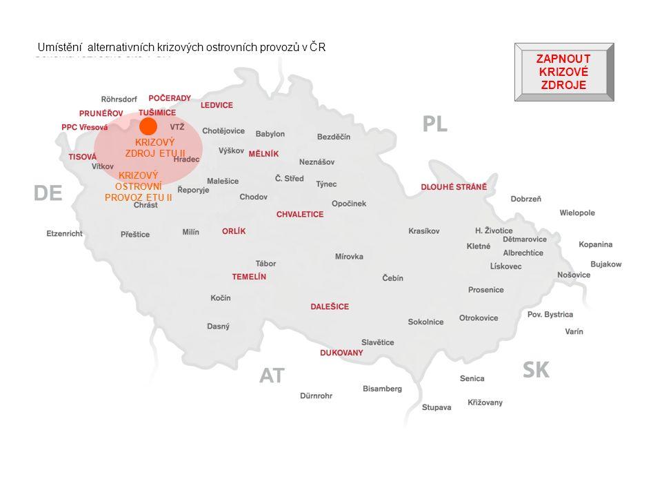 KRIZOVÝ ZDROJ ETU II KRIZOVÝ OSTROVNÍ PROVOZ ETU II ZAPNOUT KRIZOVÉ ZDROJE Umístění alternativních krizových ostrovních provozů v ČR
