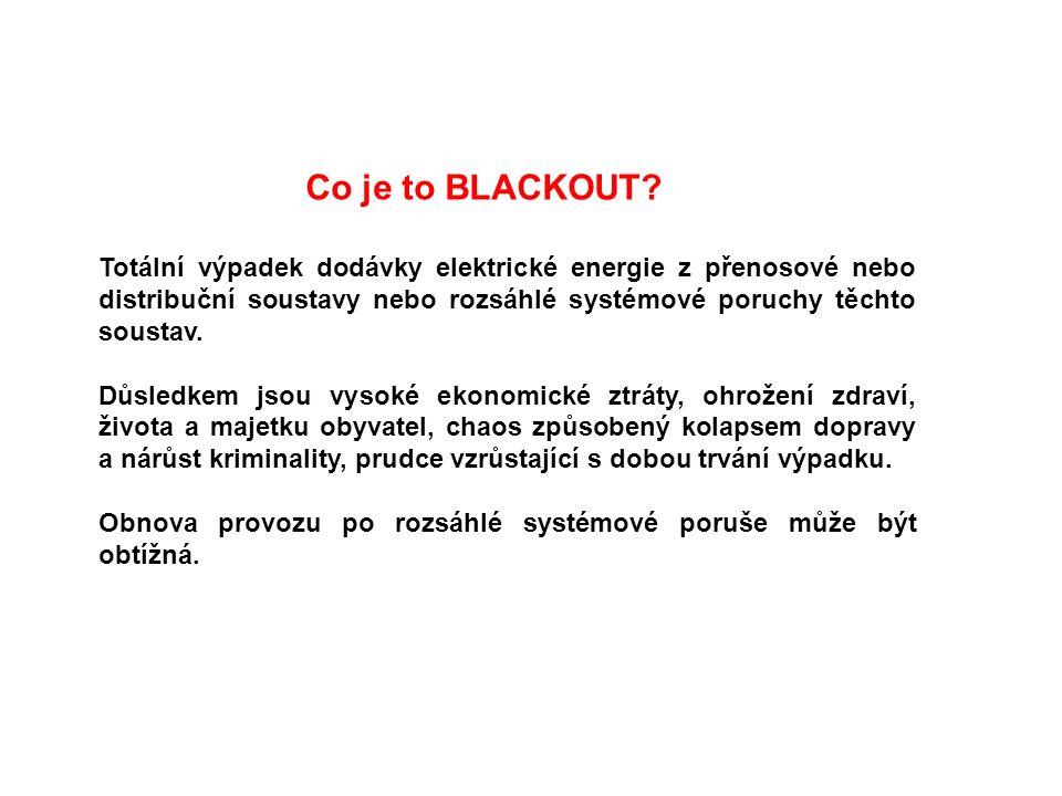 Co je to BLACKOUT? Totální výpadek dodávky elektrické energie z přenosové nebo distribuční soustavy nebo rozsáhlé systémové poruchy těchto soustav. Dů