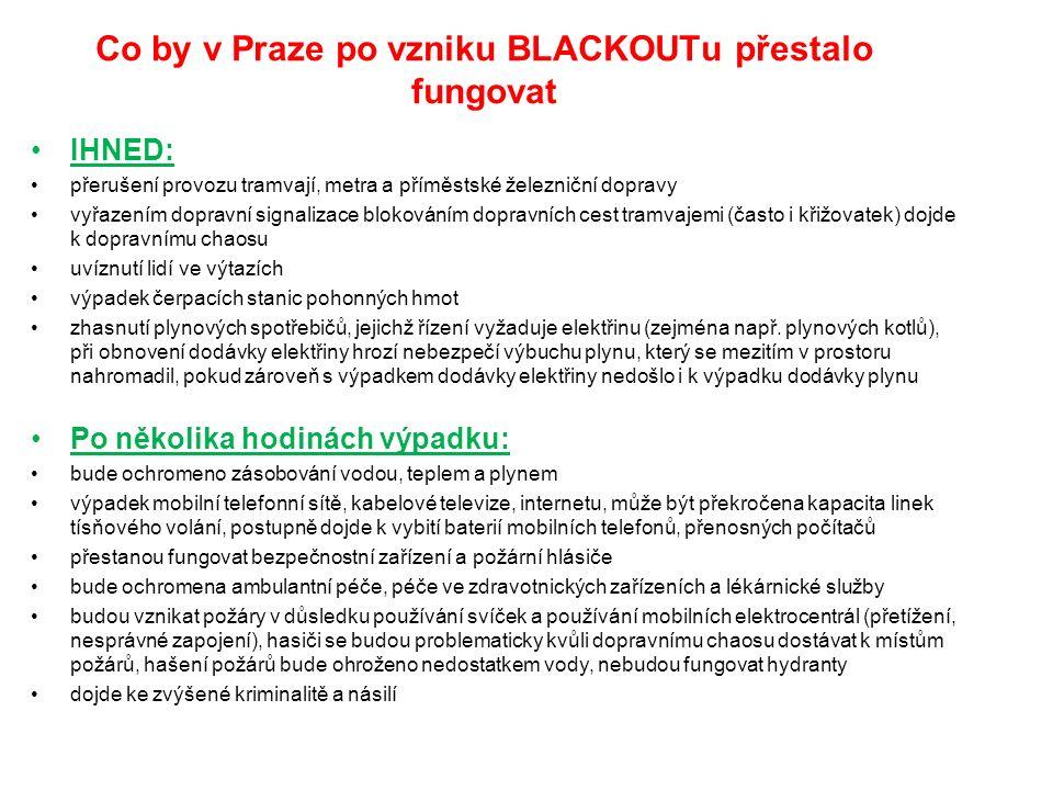 Co by v Praze po vzniku BLACKOUTu přestalo fungovat IHNED: přerušení provozu tramvají, metra a příměstské železniční dopravy vyřazením dopravní signalizace blokováním dopravních cest tramvajemi (často i křižovatek) dojde k dopravnímu chaosu uvíznutí lidí ve výtazích výpadek čerpacích stanic pohonných hmot zhasnutí plynových spotřebičů, jejichž řízení vyžaduje elektřinu (zejména např.