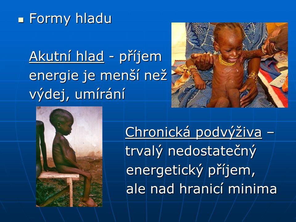 Formy hladu Formy hladu Akutní hlad - příjem energie je menší než výdej, umírání Chronická podvýživa – Chronická podvýživa – trvalý nedostatečný trvalý nedostatečný energetický příjem, energetický příjem, ale nad hranicí minima ale nad hranicí minima
