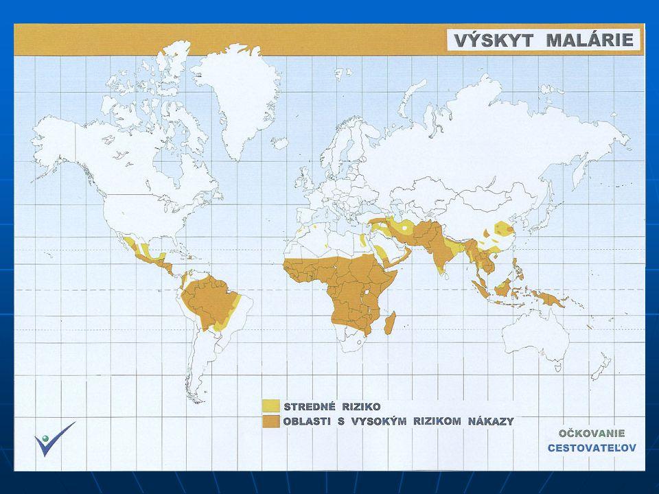 NEMOCI Malárie – parazitární onemocnění (prvok rodu Plasmodium), přenáší komár rodu Anopheles Malárie – parazitární onemocnění (prvok rodu Plasmodium), přenáší komár rodu Anopheles - mnoho forem, nejnebezpečnější trop.
