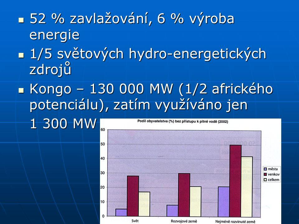 52 % zavlažování, 6 % výroba energie 52 % zavlažování, 6 % výroba energie 1/5 světových hydro-energetických zdrojů 1/5 světových hydro-energetických zdrojů Kongo – 130 000 MW (1/2 afrického potenciálu), zatím využíváno jen Kongo – 130 000 MW (1/2 afrického potenciálu), zatím využíváno jen 1 300 MW