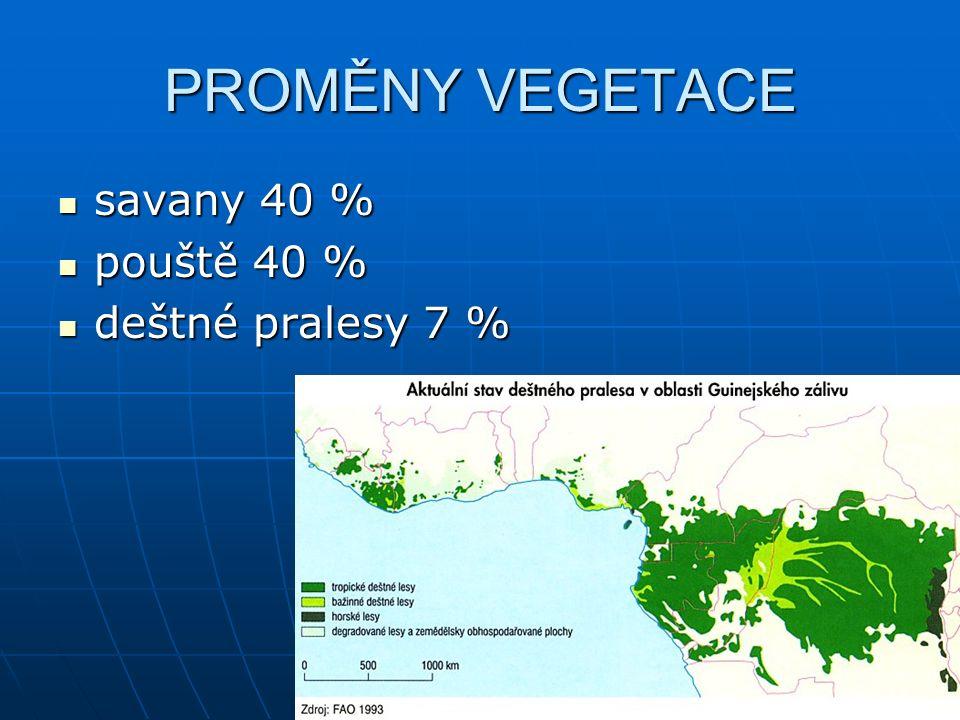 PROMĚNY VEGETACE savany 40 % savany 40 % pouště 40 % pouště 40 % deštné pralesy 7 % deštné pralesy 7 %