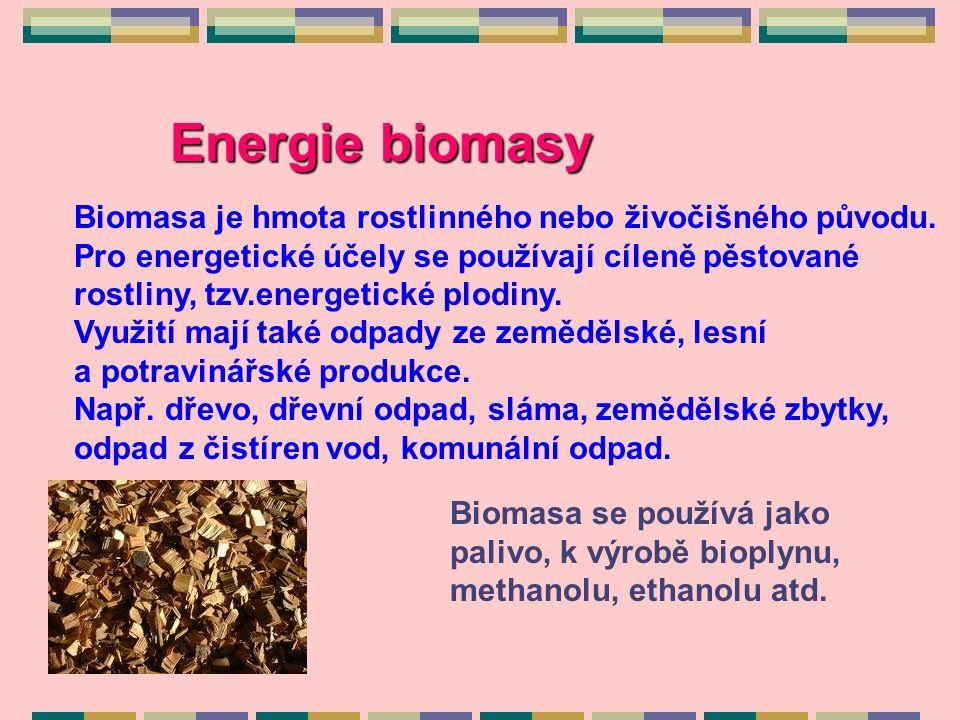 Energie biomasy Biomasa je hmota rostlinného nebo živočišného původu.