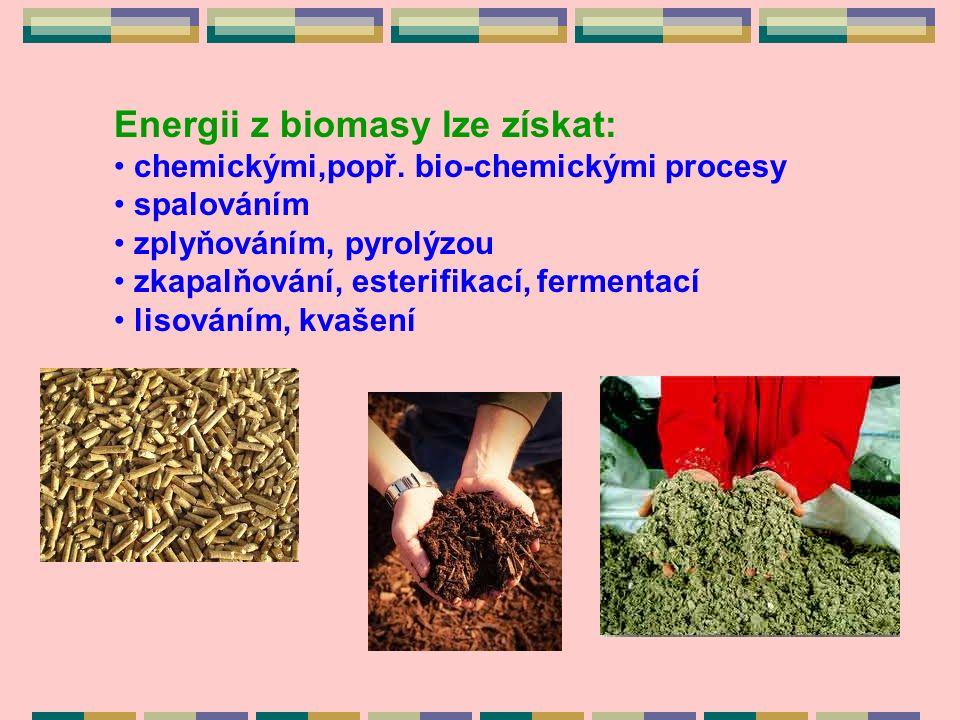 Energii z biomasy lze získat: chemickými,popř.