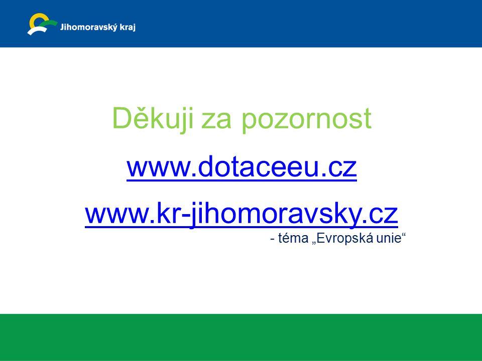 """Děkuji za pozornost www.dotaceeu.cz www.kr-jihomoravsky.cz - téma """"Evropská unie www.dotaceeu.cz www.kr-jihomoravsky.cz"""
